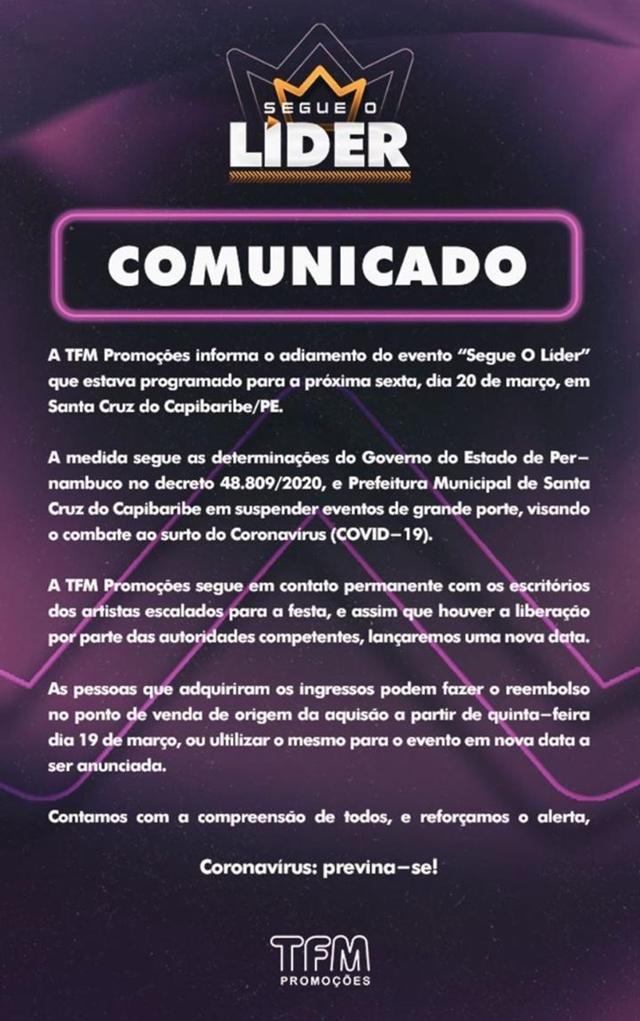 Evento com Wesley Safadão em Santa Cruz do Capibaribe é adiado por conta do coronavírus