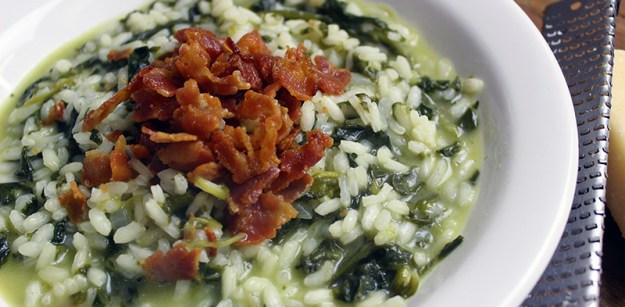 Risoto de Espinafre com bacon