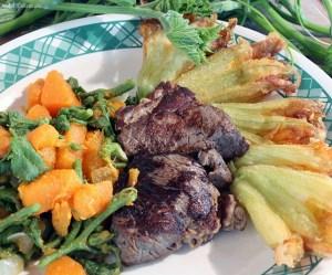 Abóbora, cambuquira e carne de sol