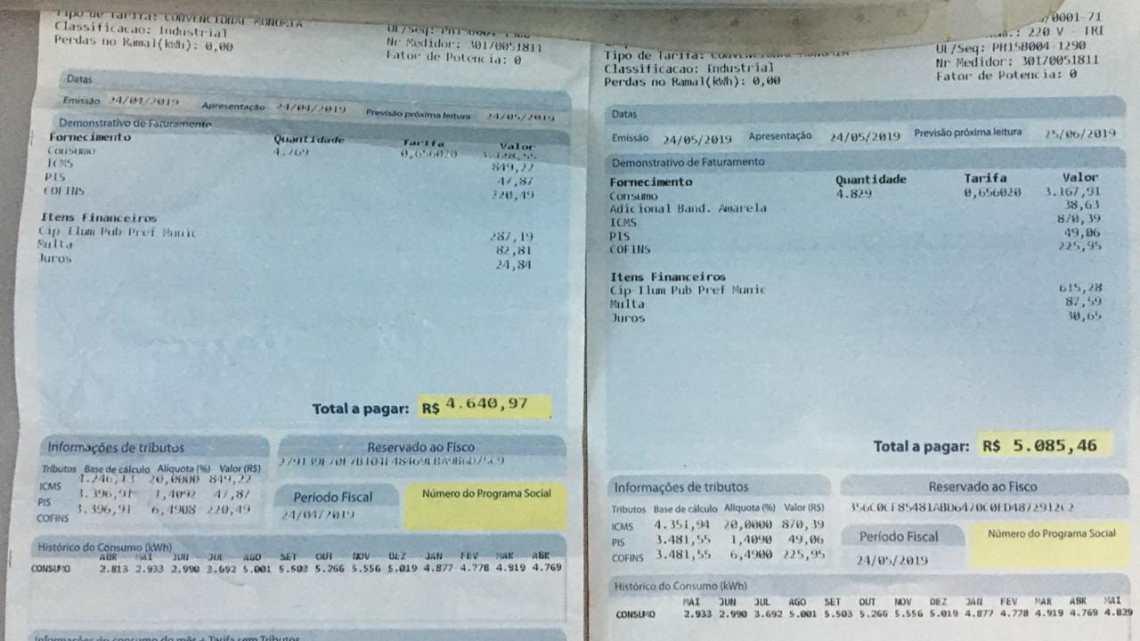 Pinheiro – Após projeto aprovado na câmara de vereadores, empresário que pagava 287$ passou a pagar 615$ de iluminação pública