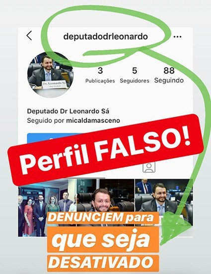 Deputado estadual DR. Leonardo Sá denuncia perfil falso com seu nome nas redes sociais