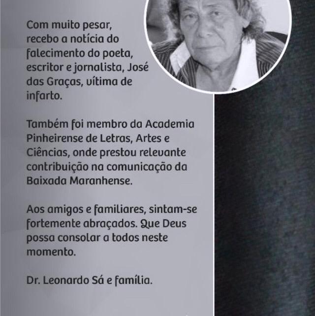 Leonardo Sá emite nota de pesar pelo falecimento do jornalista Zé das Graças