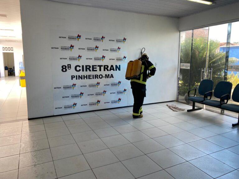 8ª Ciretran de Pinheiro passa por desinfecção para voltar as atividades presencias nesta segunda-feira (08)