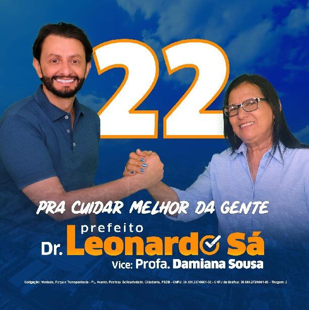 Damiana Sousa desmente notícia falsa, e reafirma candidatura à vice-prefeita junto com Leonardo Sá, veja o vídeo