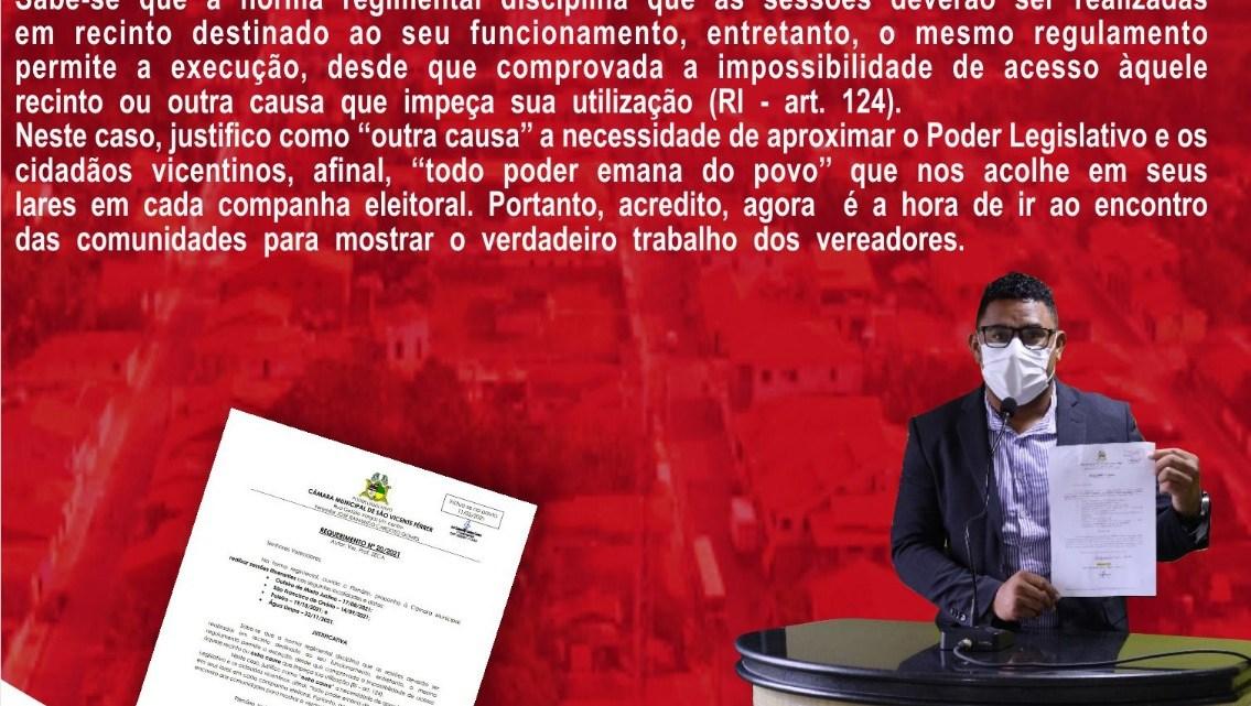 Requerimento do vereador professor Zeca é aprovado por unanimidade, e sessões itinerantes serão realizadas na zona rural de São Vicente Ferrer