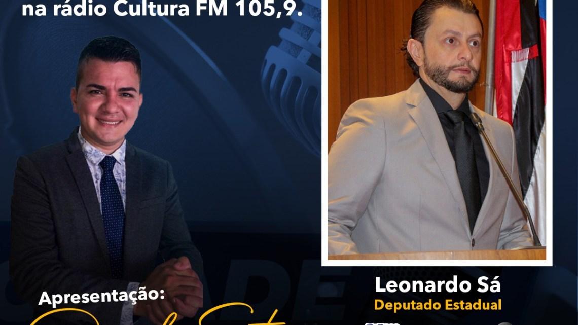 Deputado Leonardo Sá concederá entrevista neste sábado (19) na rádio cultura FM 105,9 em Pinheiro