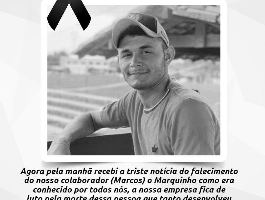 Empresa Quinzinho Gás e Àgua emite nota de pesar pelo falecimento do colaborador Marcos Soares, vítima de acidente de carro na madrugada deste domingo em Pinheiro
