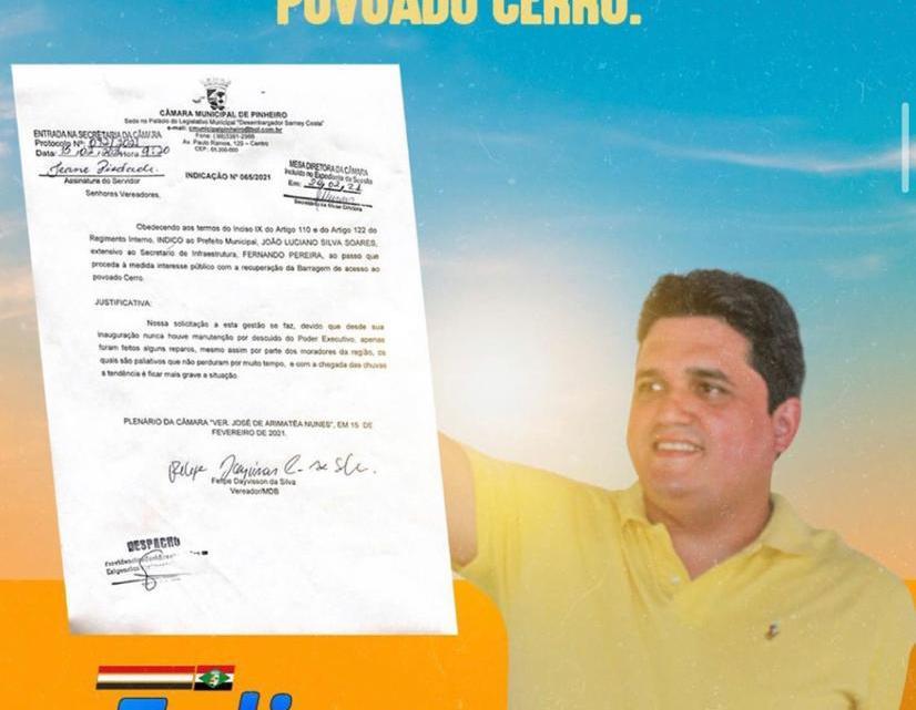 Pinheiro – Após muita cobrança do vereador Felipe de Chicão, barragem do Cerro receberá serviço de melhoramento, o parlamentar diz que irá fiscalizar execução dos trabalhos