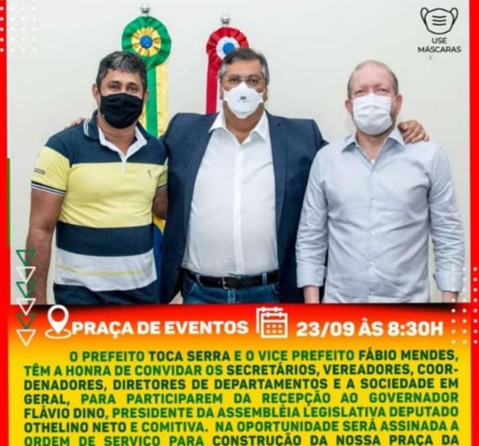 Prefeito Toca Serra e vice Fábio Mendes, convidam para assinatura da ordem de serviço para construção da Praça da Família em Pedro do Rosário
