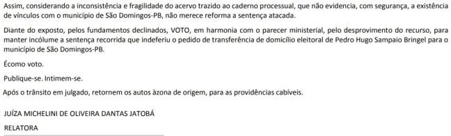 TRE - FALHOU: Justiça eleitoral diz que 'noivo não é parente' e nega transferência de título a namorado de pré-candidata a vice-prefeita em São Domingos