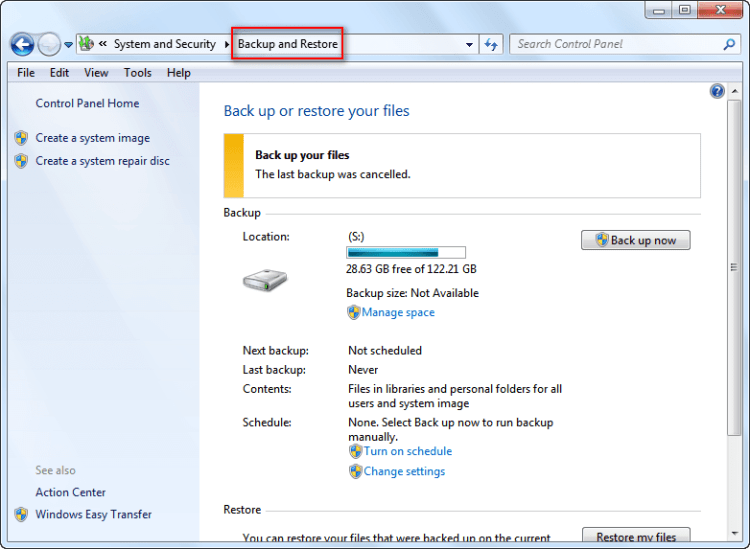Backup and restore functions on win