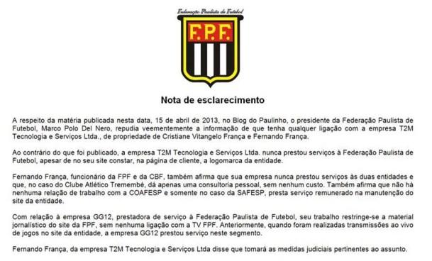 resposta FPF