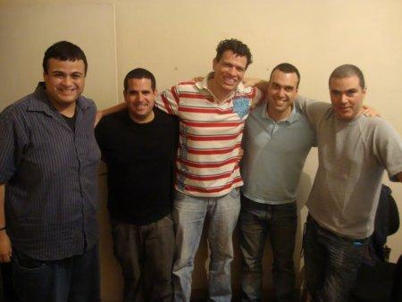 Com Diguinho Coruja, Xico Malta, Fernandão e Fabiano Pellege na excepcional rádio Midiacast