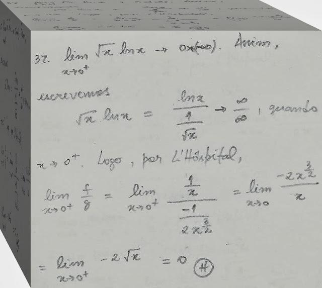 Limite da raiz quadrada de x vezes o logaritmo natural de x, com x tendendo a zero pela direita