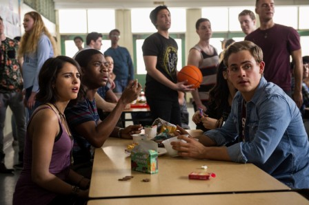 """From L to R: Naomi Scott as """"Kimberly"""", RJ Cyler as """"Billy"""" and Dacre Montgomery as """"Jason"""" in SABAN'S POWER RANGERS. Photo by Kimberley French."""