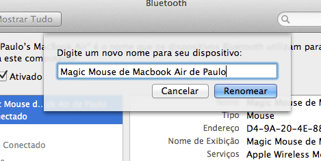 Como renomear o Magic Mouse