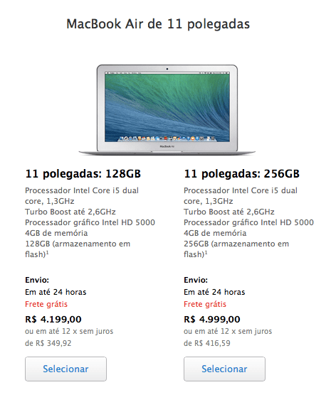 Macbook Air de 11 polegadas