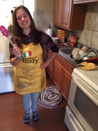Alessia from Italy cooks for her host family in Kansas.