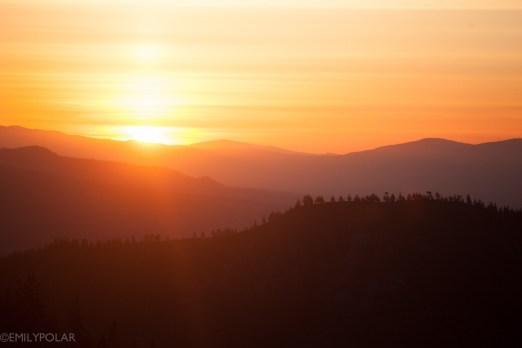 Sunrise on horizon in Shasta Wilderness.
