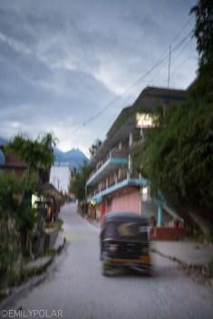 Tuk Tuk seen in the streets of Vashist at dusk in Himachal Pradesh, India.