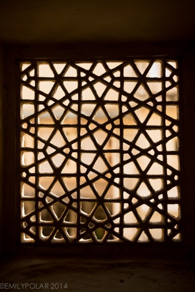 Window carved from stone in the City Palace of Udaipur.