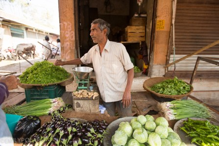 Indian man selling vegetables at his stand in the Jodhpur Market.