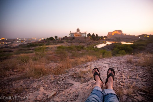 Relaxing with my camera at sunset near the Mehrangarh Fort in Jodhpur.