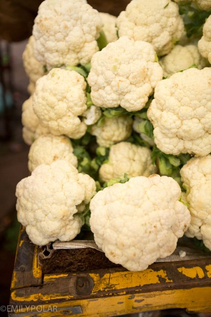 Califlower stacked at market in Jodhpur, India.