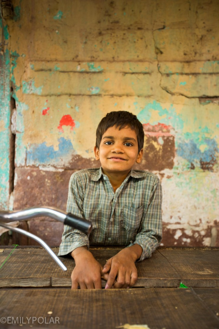 Portrait of an Indian boy in the streets of Jodhpur, Rajasthan.