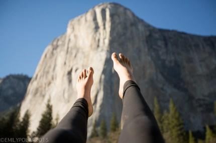 Picutre of my feet on El Cap in Yosemite Valley.