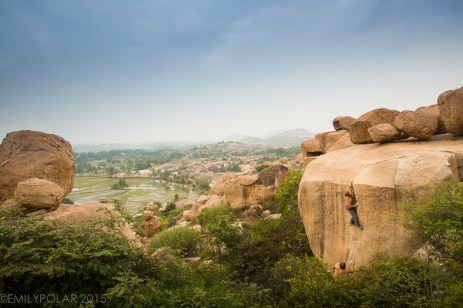 Man climbing bouldering up sunset crack high above the trees in Hampi.