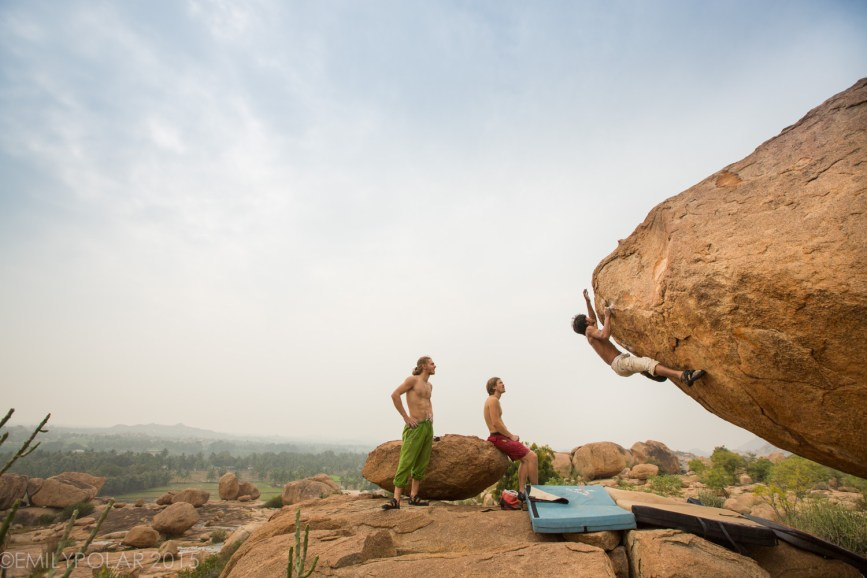 Local climber Jerry bouldering Little cobra in Access Denied area in Hampi.