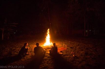 Nice campfire at Bobby's in Hampi, India.