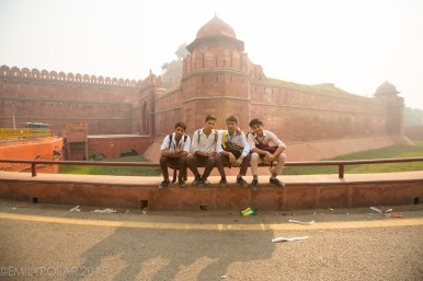 Group of young boys pose for picture at the Red Fort in Old Delhi, India.