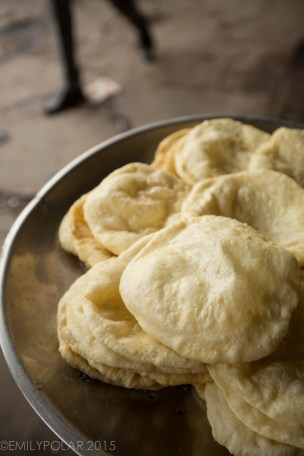 Fried dough being sold at a street vendor in Old Delhi, India.