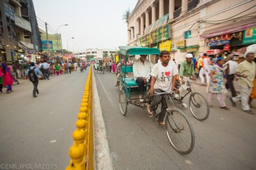 Rickshaw driver in Amritsar wearing a I heart NY T-shirt.