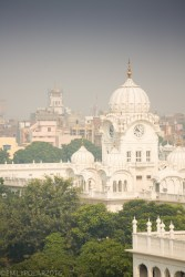 View of the white temple from the tower at the Golden Temple in Amritsar.