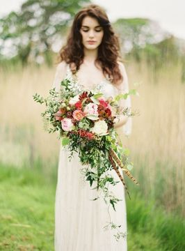 Colored greenery bouquet