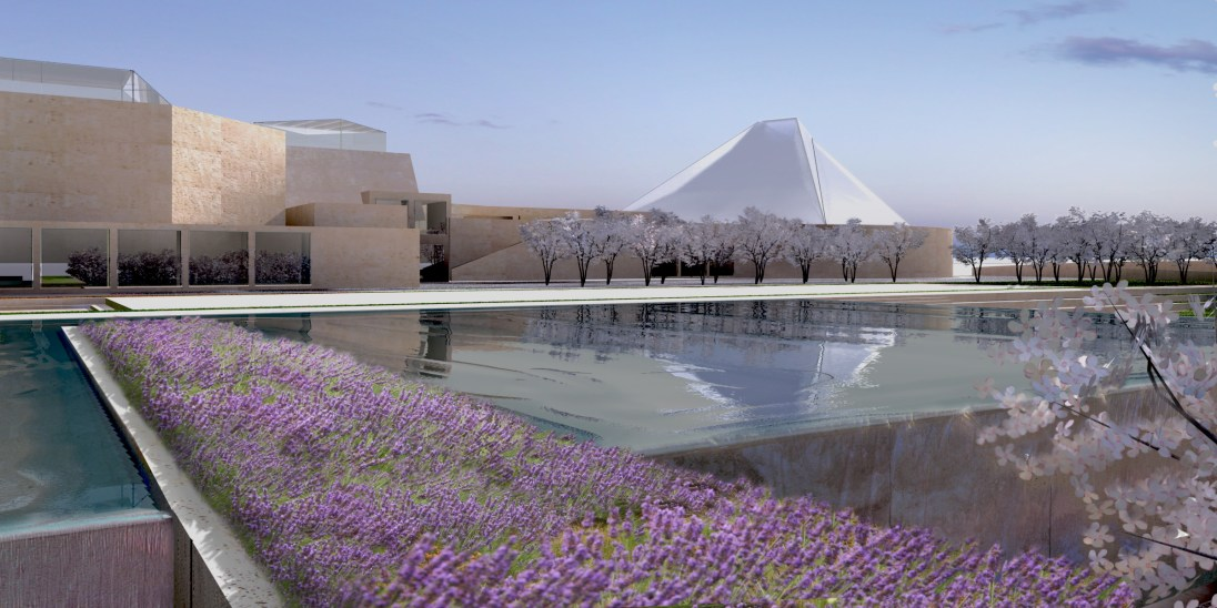 View of the Ismaili centre over the waterfall