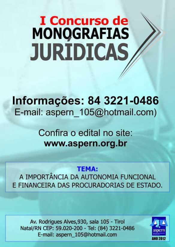 Concurso de monografia da Associação dos Procuradores do Estado do RN