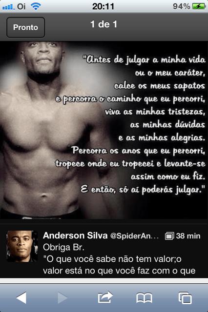 O desabafo de Anderson Silva no tuíter