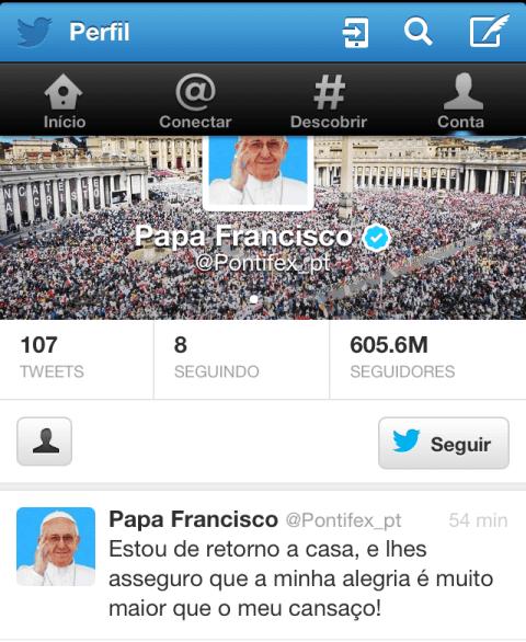 O twitter do Papa