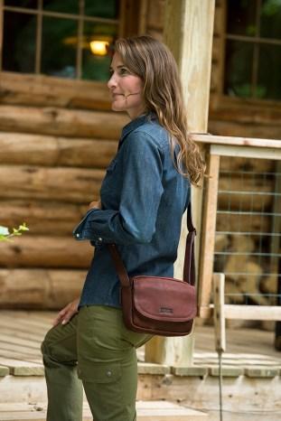 Duluth Dream Team: Lifetime Leather Mini Sling Bag, DuluthFlex Fire Hose Slim Cargo Pants and Denim Shirt
