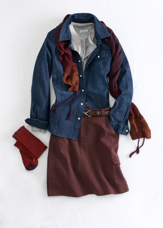 Just add boots! Wearwithall Ponte Knit Skort, Denim Shirt and Double Soft Henley