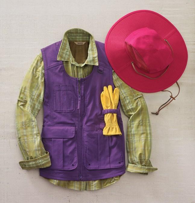 Women's Gardening Clothes: Heirloom Garden Vest, Sidewinder Shirt, Crusher Hat