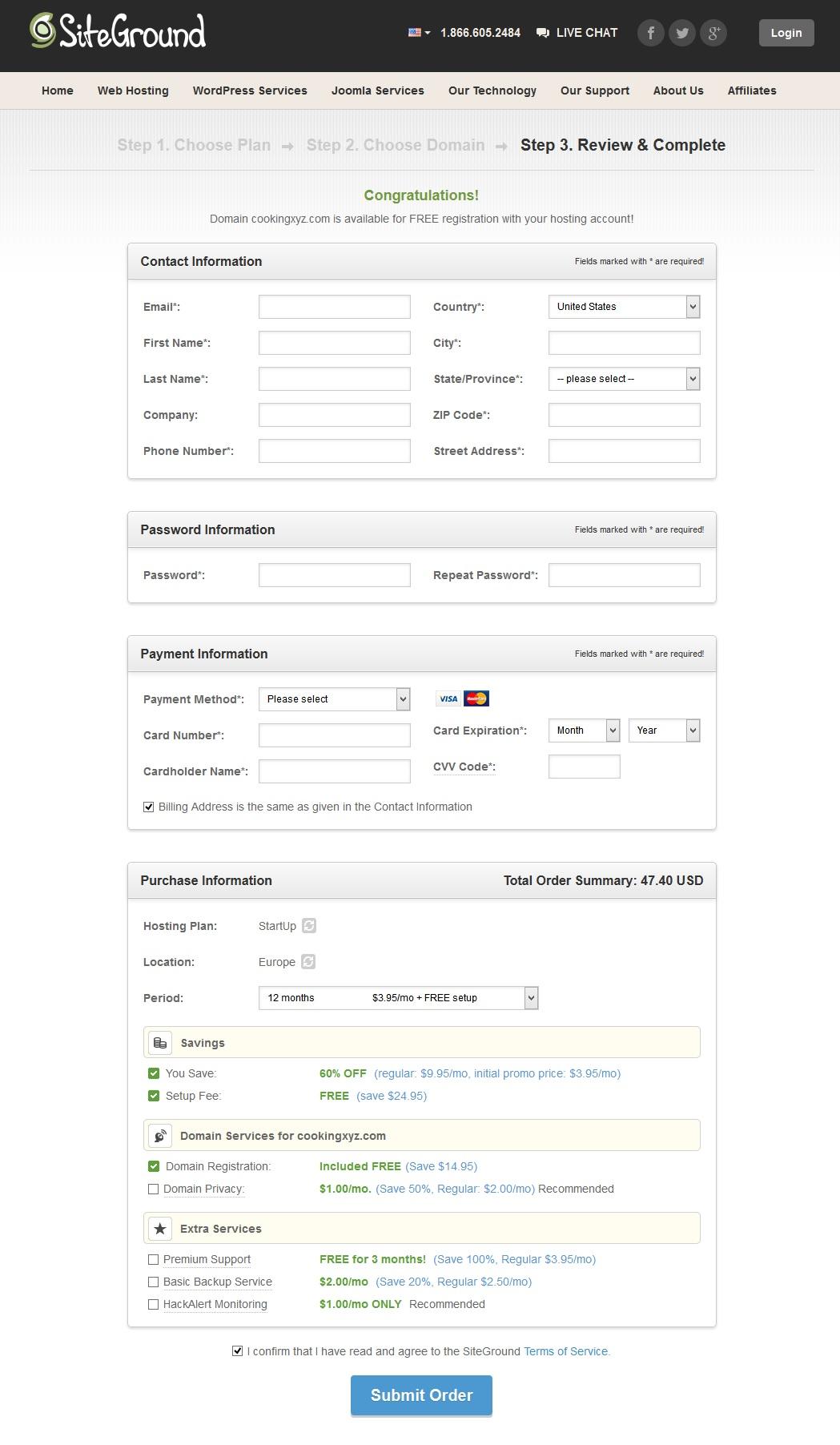 SiteGround Web Hosting Order