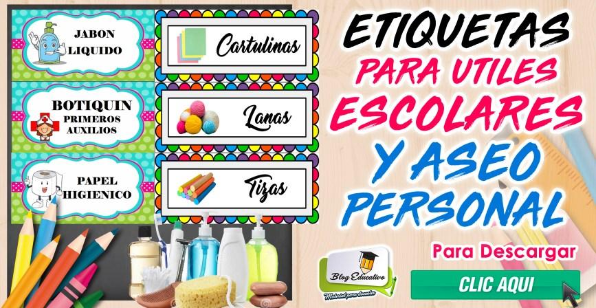 Etiquetas para útiles Escolares y Aseo personal gratis