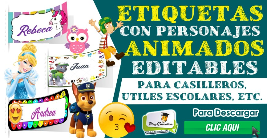 Etiquetas con personajes animados - Blog Educativo