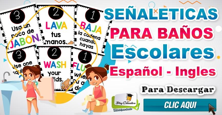 Señaleticas para baños Escolares en Español e Ingles