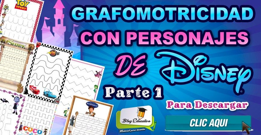 Grafomotricidad con personajes de Disney - Parte1